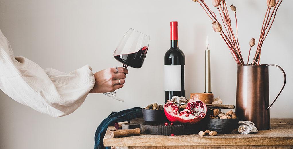Wein mit Deko